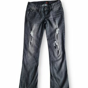 Guess Black Bootcut Distressed Jeans